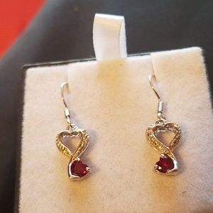 925 silver dangle ruby hearts with diamond